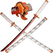 SV Wooden Japanese Anime Samurai Sword, Demon Slayer Sword-Rengoku Kyoujurou's Samurai Sword, Long Wooden