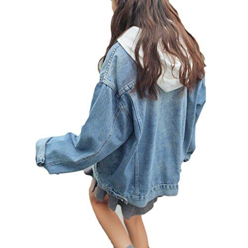 Da In Azzurro Giacche Donna Denim Fulision Di Maniche Jeans Con Bottoni Lunghe qSzZ4