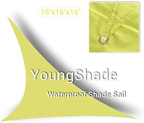 YoungShade 16 x 16 x 16 Light Green Color Sun Shade Sail Triangle Waterproof Woven Sun Shelter Shade Cloth