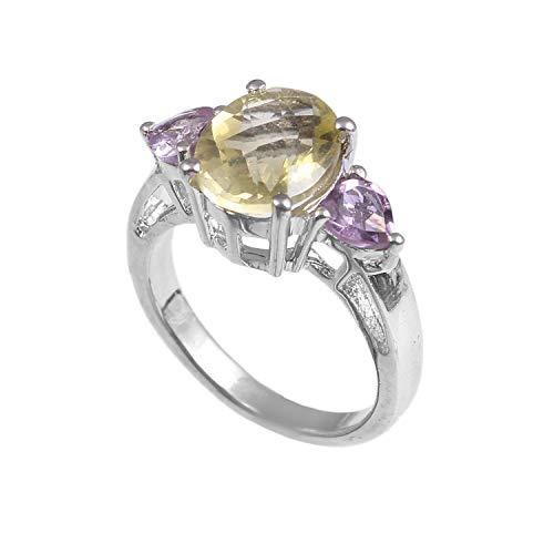 (925 Sterling Silver Ring | Natural Gemstone Lemon Quartz,Amethyst Ring | Wedding Band for Women | Natural Gemstone Ring, Engagement Ring|Ring Size 7.5)