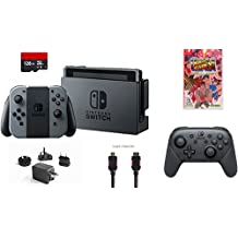 Nintendo Switch 6 items Bundle:Nintendo Switch 32GB Console Gray Joy-con,128GB Micro SD Card,Nintendo - Pro Wireless Controller,Ultra Street Fighter II:The Final Challengers,Myt(US Version, Imported)