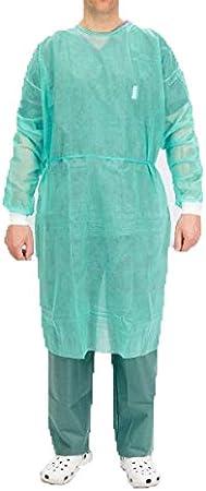 Bata protección médica desechable. Pack 10 Ud Verde con cierre ...