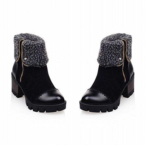 Carolbar Fur Heel Winter Women's Boots Black Stitching Retro Mid Short Warm Zipper Contrast Fashion Faux rRqrwSZ