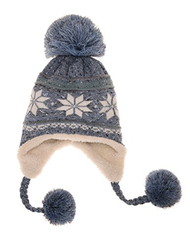 Dosoni Women Girl Winter Hats Knit Soft Warm Earflap Hood Cozy Large Snowflake Beani (Sky Blue) (Snowflake Knit Hat)