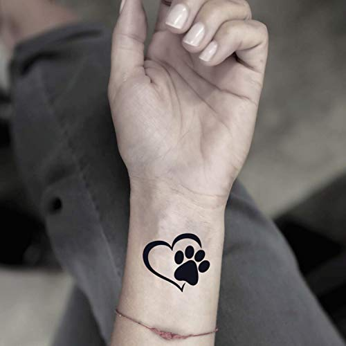 Paw Print Heart Temporary Fake Tattoo Sticker (Set of 2) - www.ohmytat.com]()