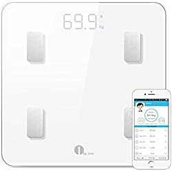 1byone Digital Weight Bathroom Scale Bluetooth Smart Wireless Body Fat Scale with IOS and Android App to Manage Body weight, Body Fat, Water, Muscle Mass, BMI, BMR, Bone Mass and Visceral Fat, White
