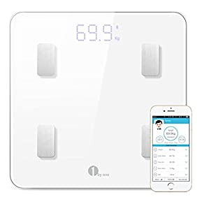 1byone Digital Weight Scale Bathroom Scale Smart Wireless Body Fat Scale with IOS and Android App to Manage Body weight, Body Fat, Water, Muscle Mass, BMI, BMR, Bone Mass and Visceral Fat, White