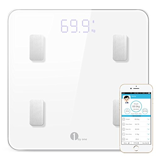 1byone Bluetooth Body Fat Scale with IOS and Android App Smart Wireless Digital Bathroom Scale for Body weight, Body Fat, Water, Muscle Mass, BMI, BMR, Bone Mass and Visceral Fat, White by 1byone