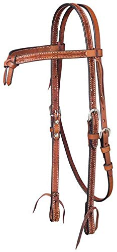 Tough-1 Leather Futurity Brow Headstall w/ Barbed Wire Detail ()