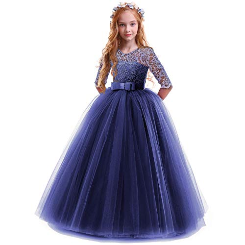 IBTOM CASTLE Spring Flower Girl Wedding Bridesmaid 3/4 Sleeves Kids Floral Lace Pageant Communion Princess Dress Prom Evening Dance Gown Navy Blue 7-8 Years