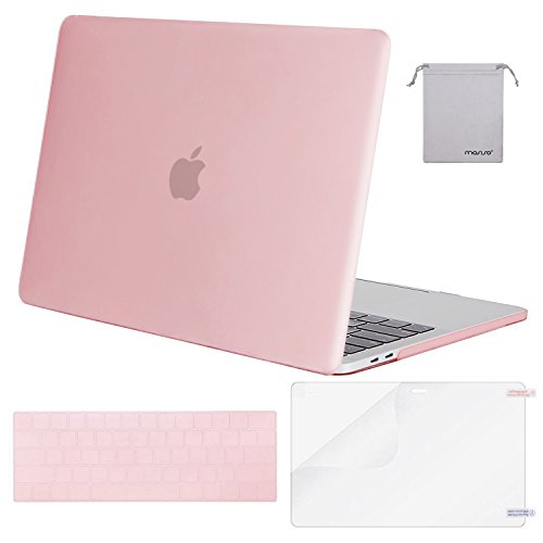 MOSISO MacBook Pro 13 Case 2018 2017 2016 Release A1989/A1706/A1708, Plastic Hard Shell & Keyboard Cover & Screen Protector & Storage Bag Compatible Newest Mac Pro 13 Inch, Pink