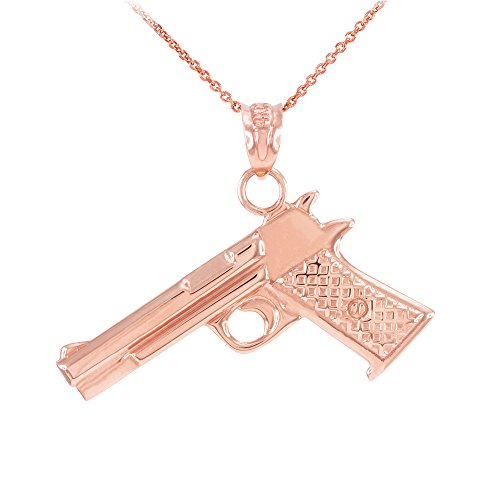 Collier Femme Pendentif Solide 14 Ct Or Rose Désert Aigle Pistolet Canon (Livré avec une 45cm Chaîne)