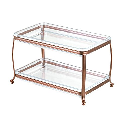 InterDesign Cosmetics and Make Up Organizer Venetian Bronze/Clear York Lyra Double Vanity Tray