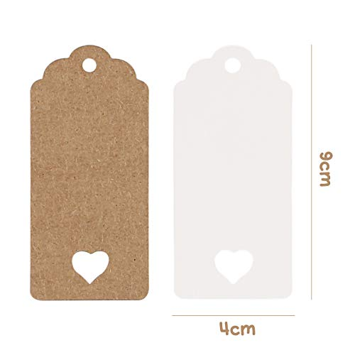 Koogel 200pcs Gift Paper Tags, Heart Kraft Paper Label with Strings for Gifts Arts Crafts Wedding Holiday Christmas