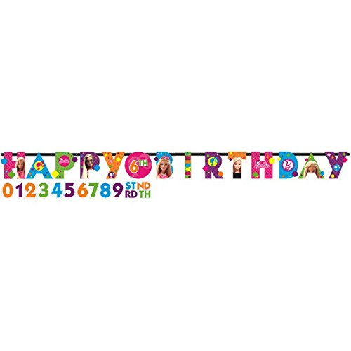 Barbie Sparkle Jumbo Add-an-Age Customizable Letter Banner Birthday
