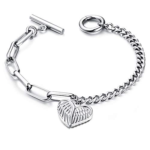 QJLE Stainless Steel Unique Asymmetrical Chain Link Coin Charm Bracelet for Women Girls 14K Rose Gold Plated (Heart Wing)