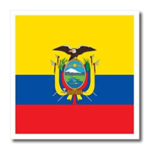 ht_158307_1 InspirationzStore Flags - Flag of Ecuador - South America American - Ecuadorian yellow blue red - condor bird coat of arms - Iron on Heat Transfers - 8x8 Iron on Heat Transfer for White Material