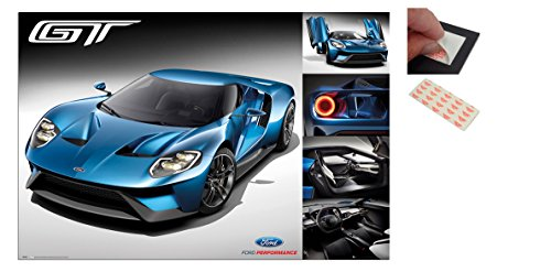 Bundle - 2 Items - Ford GT 2016 Supercar Poster - 91.5 x 61cms (36 x 24 Inches) and a Set of 4 Repositionable Adhesive Pads For Easy Wall Fixing (Ford Items)