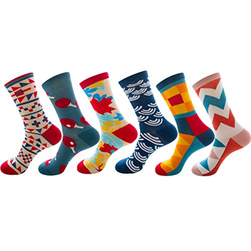 levliong Mens Socks,Men'S 5 Or 6 Pk Colorful Patterned Dress Socks,Sports Thermal Socks Size 6-11