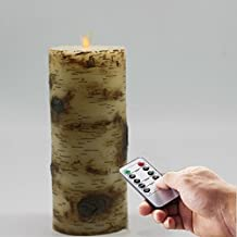 7 Inch Tall Moving Wick Flameless Birch Wax LED Battery Operated Candle with Remote and Timer