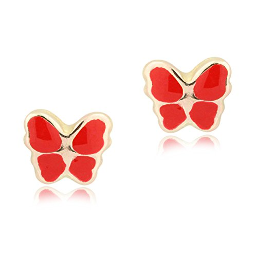 (UNICORNJ 14K Yellow Gold Butterfly Stud Earrings Enameled Red Kids & Children Italy)