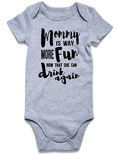 Baby Funny Neutral Color Cotton Blend Letter Romper One-Piece Underwear Short Sleeve Bodysuits Mommy is Way More Fun Now That She Can Drink Again Newborn Toddler Aunt Romper Boy and Girl (0-3 Months) -
