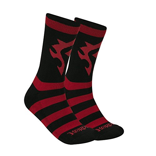 JINX World of Warcraft Horde Core Embroidered Athletic Crew Socks, 1 Pair