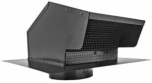 Builder's Best 012633 Roof Vent Cap, Black Galvanized Metal, with 6-inch diameter collar (Vent Gooseneck)