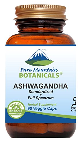 High Potency Ashwagandha Capsules - 90 Kosher Vegan Caps - Now with 475mg Organic Ashwagandha Root & Concentrated Ashwagandha Extract