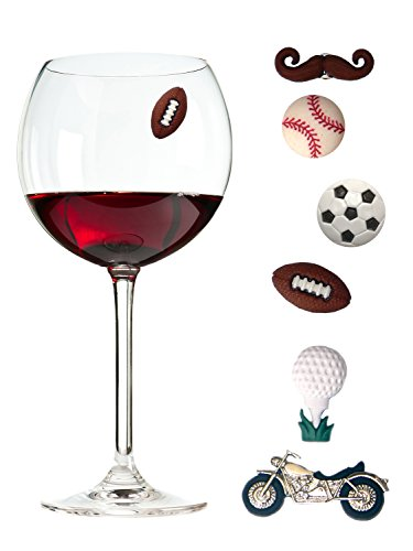 (Wine Charms for Men Set of 6 Magnetic/sports Drink Markers by Simply Charmed)