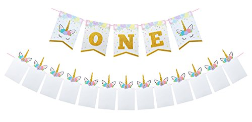 Unicorn Baby First Birthday Party Decoration Kit - Highchair ONE Banner with Newborn to 12 Month Photo Garland for Girl