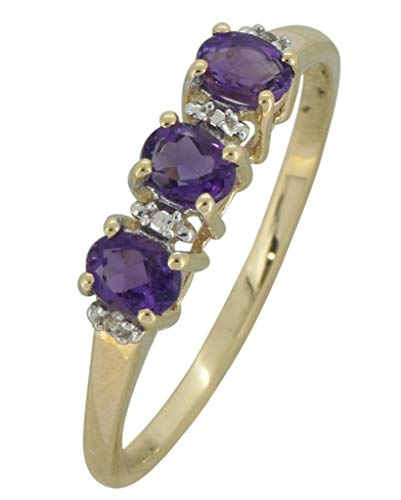 - YoTreasure 0.45 Ct. Purple Amethyst Solid 10K Yellow Gold Eternity Band Ring