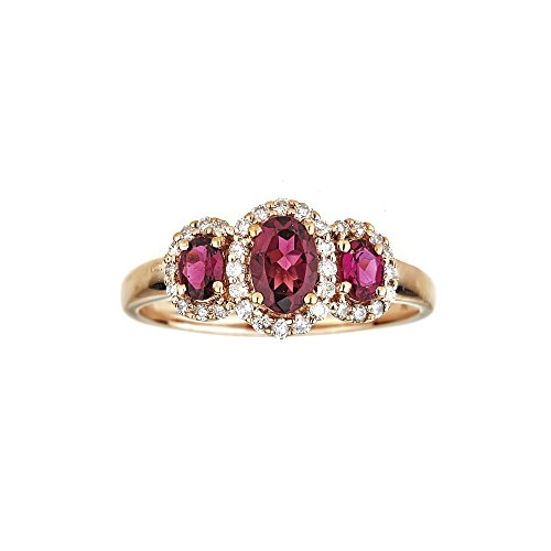 Gin and Grace 14k White Gold Oval 3-Stone Red Ruby and 1/3ct TDW Diamond Ring For Women, Size 7