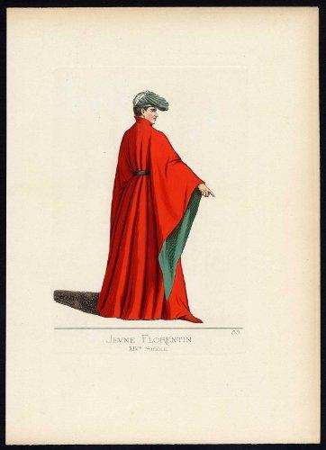Fourteenth-century Italy Costumes (Antique Print-FLORENCE-ITALY-COSTUME-14TH CENTURY-PLATE 55-Bonnard-Mercuri-1860)