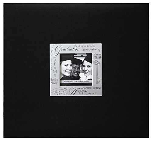 Expressions Scrapbook Album - MBI 13.2x12.5 Inch Expressions Postbound Album with 12x12in Pages, Graduation, Black (803515)