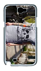 cover body tattos skull shirt PC White case/cover for samsung galaxy N7100/2