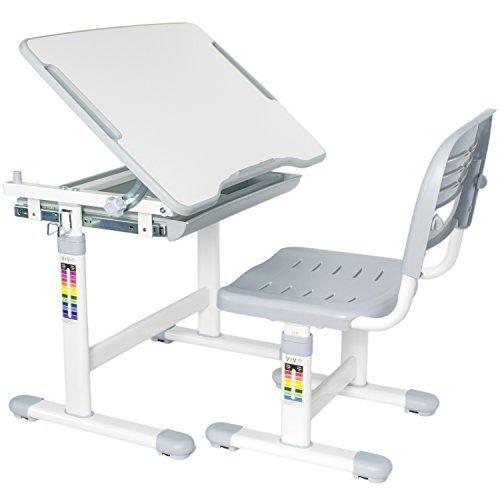 VIVO Height Adjustable Childrens Desk and Chair Set, Grey