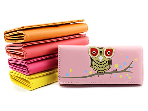 Moxeay Cute New Owl on Branch Print Fuax Leather Wallet Clutch Purse (Pink)