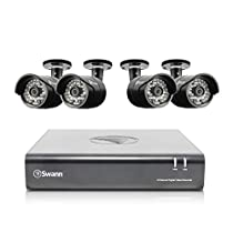 Swann HD (1280 x 720) Security System, 8 Channel DVR with 4 x High Definition 1MP Pro-A850 Weatherproof Aluminum Surveillance Cameras, Motion Detection day/night, HDMI & VGA output, Smartphone Viewing (SWDVK-844004)