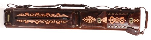 Instroke 3 Butt 7 Shaft Saddle Leather Cue Case Brown Hand Painted D03