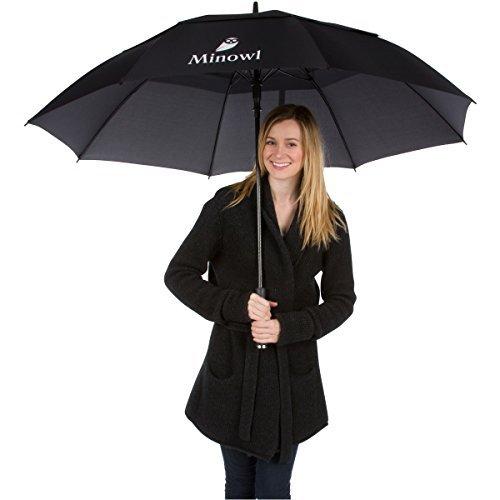 Minowl Oversize Golf Umbrella Large 62 Inch Windproof Waterproof Auto Open Black (Garden Umberellas)