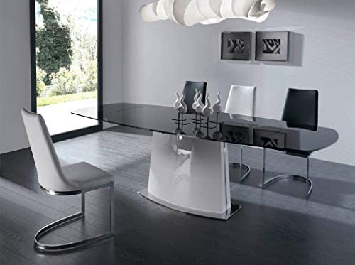 Angel Cerdá | Sedia per sala da pranzo rivestita in ecopelle, gambe in acciaio cromato, stile moderno