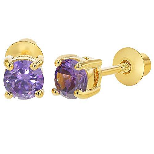 18k Gold Plated February Purple Cubic Zirconia Screw Back Earrings 4mm