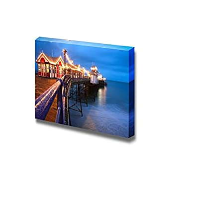 Canvas Prints Wall Art - Eastbourne Pier at Dusk/Night, East Sussex, UK | Modern Wall Decor/Home Art Stretched Gallery Canvas Wraps Giclee Print & Ready to Hang - 12