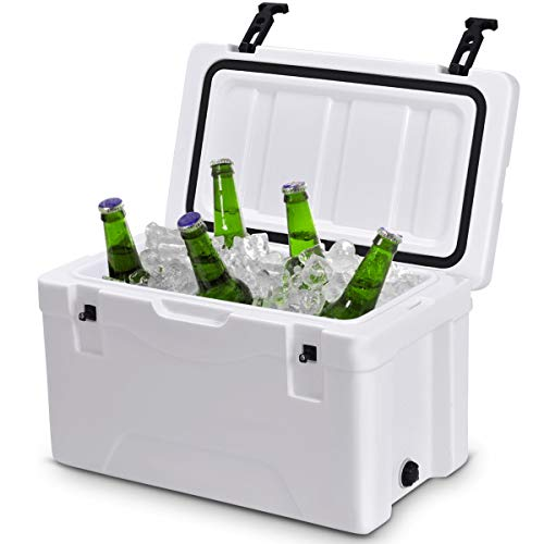Giantex 40 Quart Heavy Duty Cooler Ice Chest Outdoor Insulated Cooler Fishing Hunting Sports White