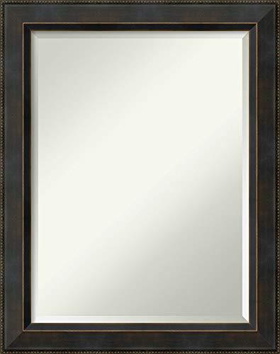 Beaded Mirror Framed Cabinet - Amanti Art Signore Bronze Bathroom Mirror Medium Large, Large-22 x 28