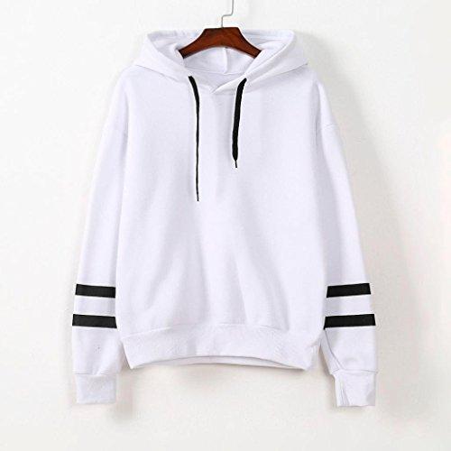 Minetom Mujer Niñas Camisetas Manga Larga Sudaderas Con Capucha Tops Rayas Encapuchado Camisa Entrenamiento Sweatshirts Blanco