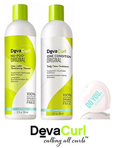DevaCurl ORIGINAL No-Poo Zero-Lather Cleanser & One Condition Daily Cream Conditioner DUO Set (with Sleek Compact Mirror) (Original - 12 oz DUO Kit)
