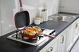 Happycall Nonstick Double Pan, Omelette Pan, Flip Pan, Square, Dishwasher Safe, PFOA-free, Red (Multi, 2.75\