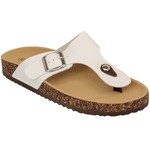 2003 Womens Flops Summer White CM On Patent Slip Toe Mule Flip Cork Post Ladies Flat Sandals ZxTqnC4gx